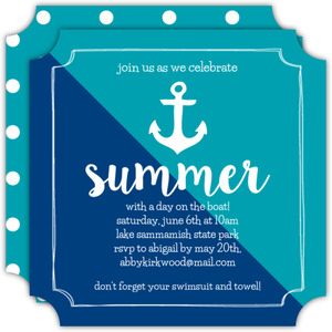 Modern Anchor Summer Party Invitation