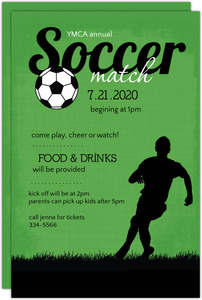 Green and Black Soccer Match Sports Party Invitation