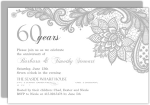 Elegant Lace 60th Anniversary Invitation