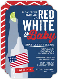 Red White and Baby Patriotic Sip and See Party invitation
