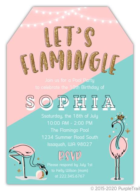 Lets Flamingle Summer Birthday Party Invitation
