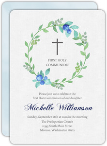 Whimsical Blue and Green Watercolor Wreath First Communion Invitation
