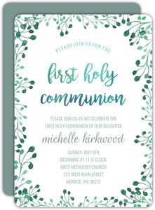 Green Watercolor First Holy Communion Invitation