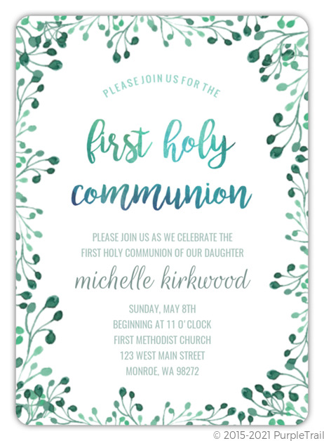 Green Watercolor First Holy Communion Invitation First Communion