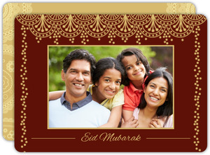 Red And Gold Photo Eid Greeting Card
