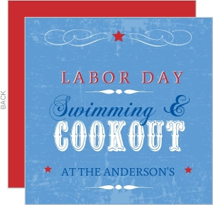Blue And Red Western Labor Day Invite