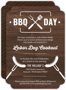 Modern Wood Labor Day Cookout Invitation