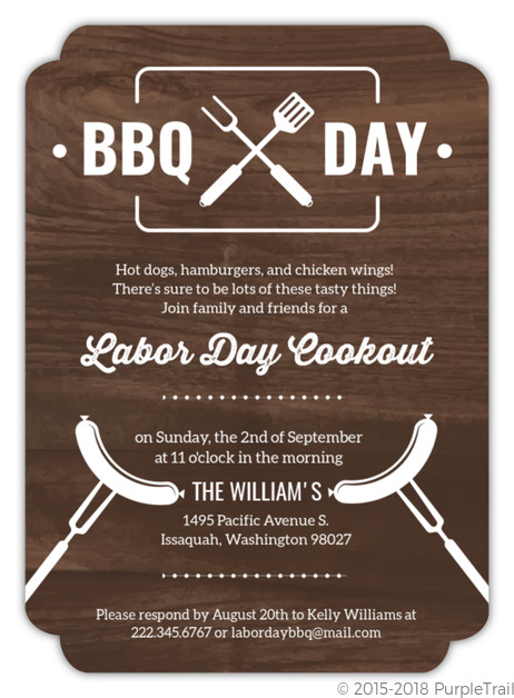 modern wood labor day cookout invitation labor day invitations