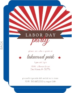 Red White And Blue Labor Day Fireworks Invite