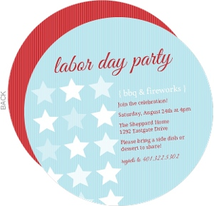 Stars And Stripes Blue Labor Day Party Invite