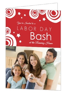 Red Stars And Circles Labor Day Invite