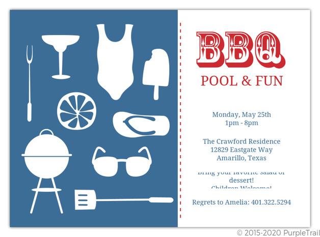 Modern Summer Icons Bbq Invitation