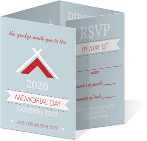 Red and Light Blue Camping Trip Memorial Day Invitation