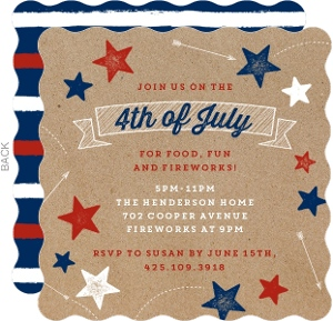 Shooting Stars and Arrows Fourth of July Party Invitation