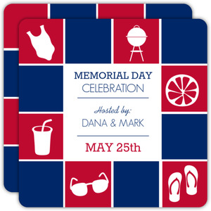 Red and Blue Blocks Memorial Day Invitations