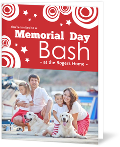 Stars and Circles Red Memorial Day Invitation
