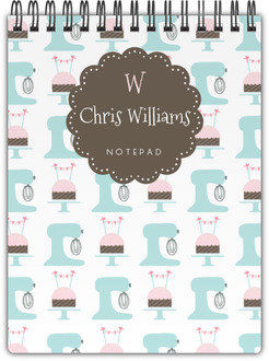 Mixer and Cupcake Pattern Notebook
