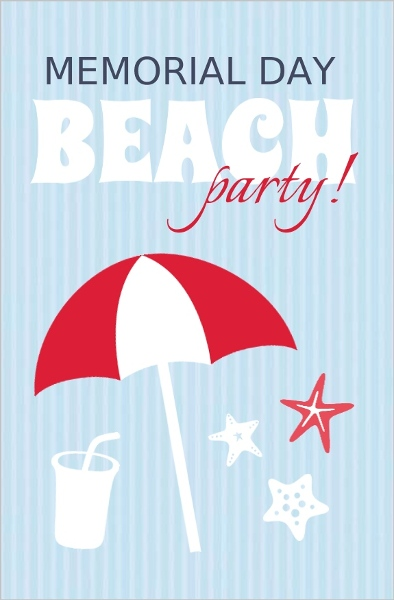 blue and red memorial day beach party invitation memorial day