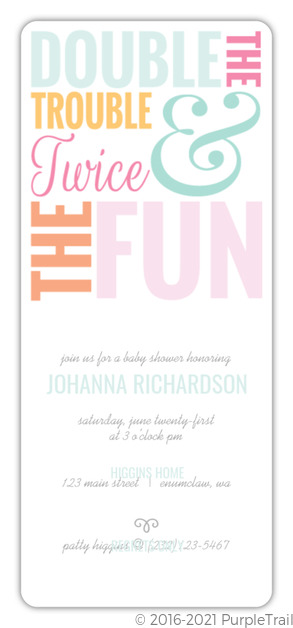 Colorful Twice The Fun Twin Baby Shower Invitation Twins Baby