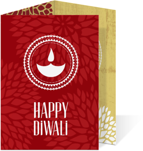 Red Floral Trifold Diwali Card