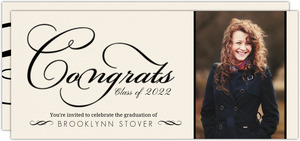 Rustic Yellow and Black Elegant Swirl Graduation Invitation