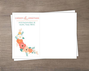 Mint Coral And Peach Country Floral Envelope