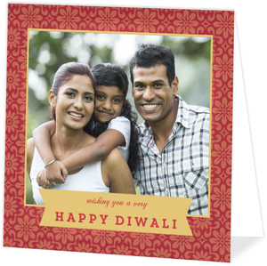 Graphic Floral Pattern Red Gold Diwali Card