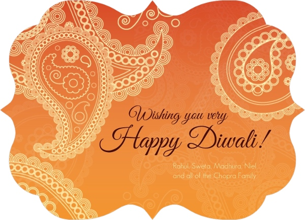 Orange paisley diwali greeting card diwali cards orange paisley diwali greeting card m4hsunfo