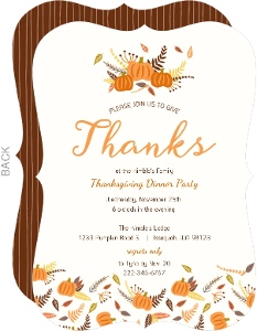 Whimsical Fall Leaves & Pumpkins Thanksgiving Invitation