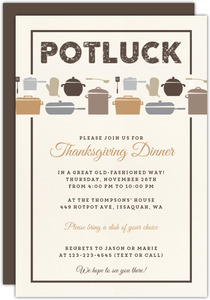 Rustic Neutral Potluck Thanksgiving Invitation