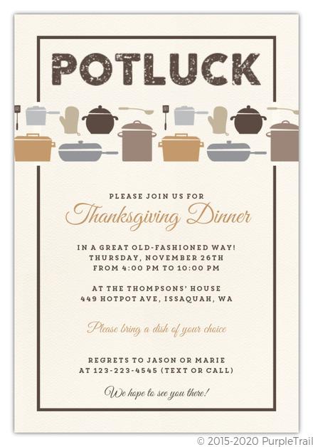 rustic neutral potluck thanksgiving invitation thanksgiving