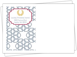Graduate School Announcement Blue And Gold Laurel Wreath Envelope