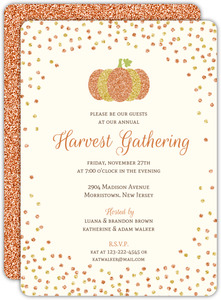 Beautiful Orange Glitter Pumpkin Confetti Thanksgiving Invitation