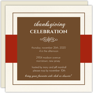 Classy Red and Brown Thanksgiving Invitation