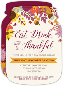 Colorful Autumn Floral Thanksgiving Invitation