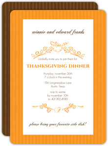 Elegant Brown Stripes Thanksgiving Invitation