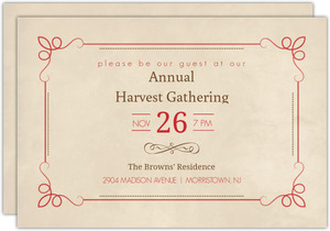 Antique Red and Brown Thanksgiving Invitation