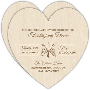 Brown Flatware Woodgrain Thanksgiving Invitation