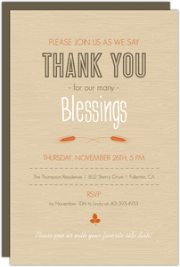 Colorful Retro Branches Thanksgiving Invitation
