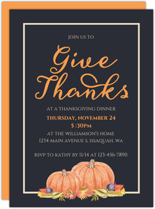 Modern Give Thanks Thanksgiving Invitation