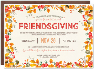 Watercolor Fall Foliage Friendsgiving Party Invitation