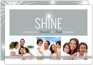 Silver and Blue Shining Star Hanukkah Card