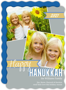 Blue and Yellow Hanukkah Photo Card
