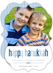Simple Blue and Gray Hanukkah Card