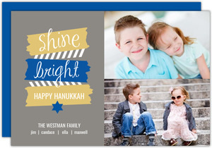 Blue and Gold Chanukah Photo Card