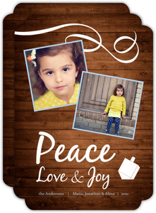 Rustic Peace  Hanukkah Photo Card