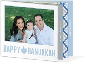 Blue and Gray Booklet Hanukkah Card