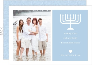 Blue And White Menorah Hanukkah Card