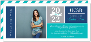 Gray and Blue Blocks Graduate School Invitation