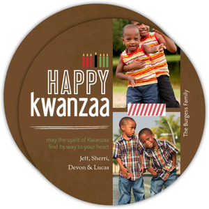 Brown and Green Kinara Kwanzaa Card